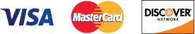 We accept VISA MasterCard and Discover